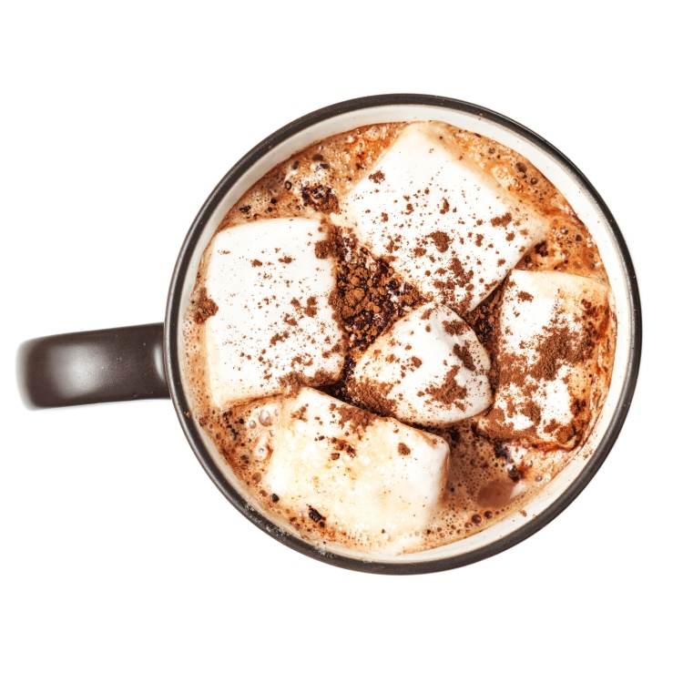 Hot chocolate with marshmallows in a cup isolated on white